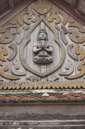 morn: graven image in the Gable of wat  Wat Srangsok or Wat Morn  more than 200 years old temple located in Samutprakarn Thailand