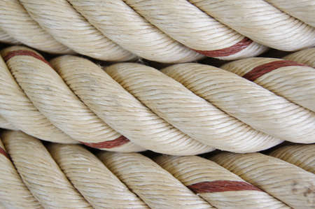 Close up detail of a coil of polypropylene rope Stock Photo