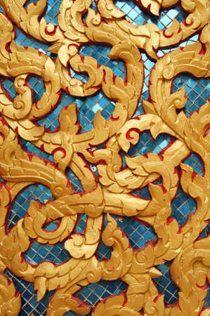 Beautiful Thai Art on Wat Muang khae temple Thailand photo