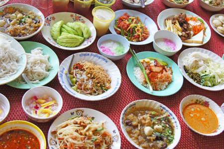 Thai food and sweets of various types  Religious ceremony