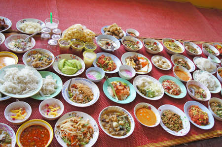 Thai food and sweets of various types  Religious ceremony  photo
