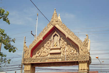ancient arched entrance of thai temple