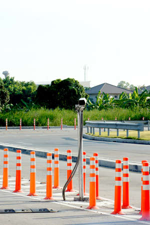 Security camera with security bollards photo