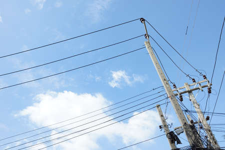 Electric pole with wires photo
