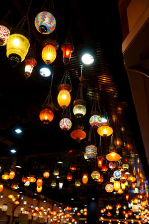 Variety of colorful lamp on the ceiling Editorial