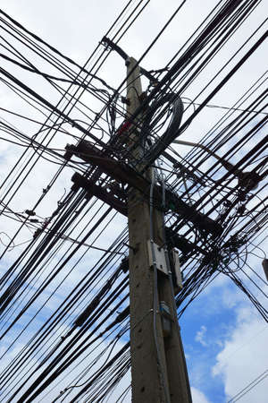 Electric pole with tangled wires