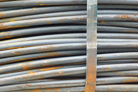 Steel wire in a coil texture Stock Photo