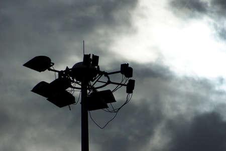 Silhouette of light pole  Stock Photo