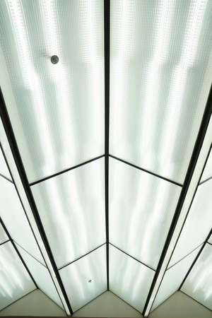 Fluorescent lamps on the ceiling for abstract background