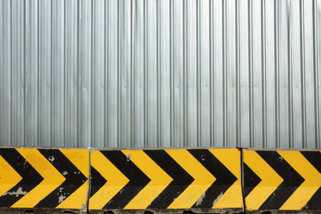 Metal plate fence and concrete barrier for background - Construction zone