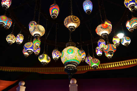 Colorful lamps on the ceiling