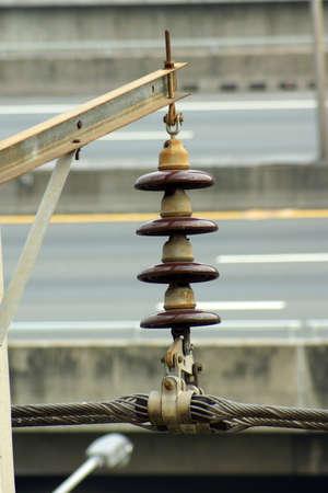 insulator: Powerline and disc insulator string