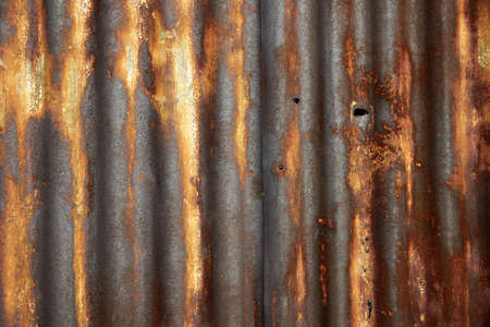 Rusty corrugated metal roof texture photo