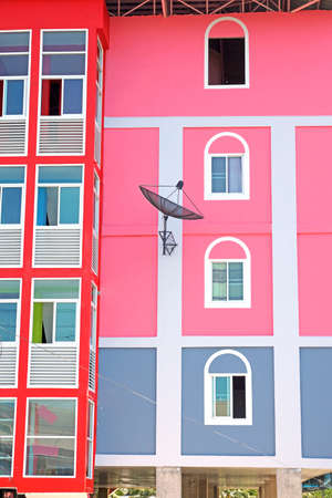 Colorful of residential facade for background Stock Photo