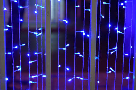 Blue LED lights for decoration as abstract background photo