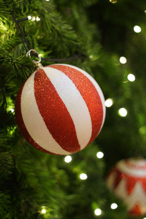 Christmas tree decorations by light and colorful balls
