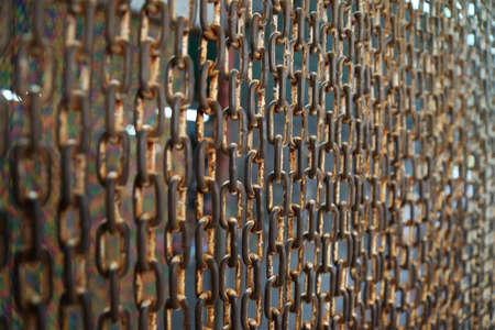 Curtain steel chain in bird park photo