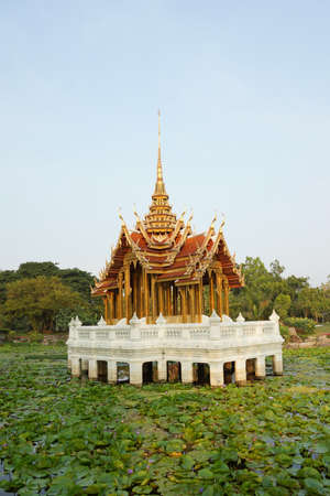 Thai traditional pavilion in lotus pond in a park- Thailand