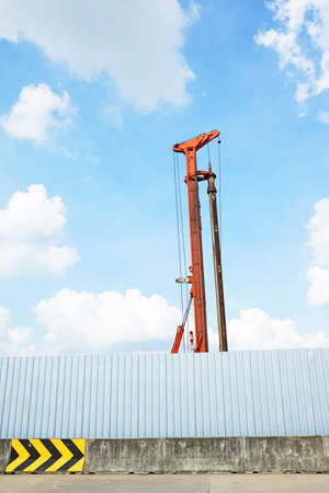 augers: An auger working inside construction sites Stock Photo