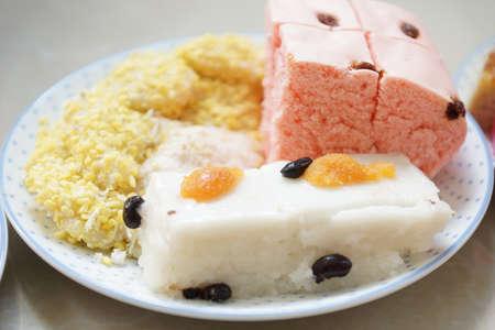 Mix Thai dessets in dish