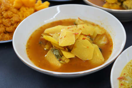 Light Yellow Curry Fresh Mackerel Steaks In Delightfull Spicy And Sour Soup