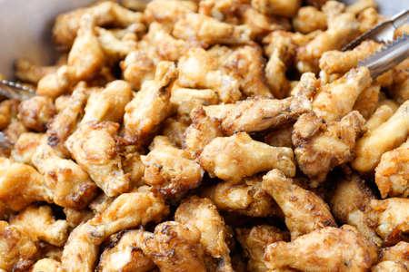 Fried chicken for sale in market - Asian street food