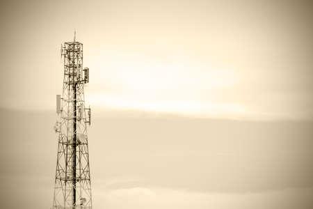 telco: Telecommunication tower for background  retro scene Stock Photo