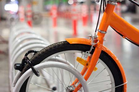 Bicycle in rack Stok Fotoğraf