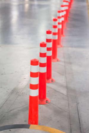 Orange traffic reflective bollards