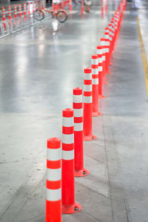 reflective: Orange traffic reflective bollards