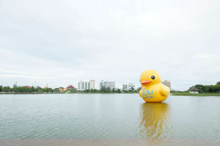 queen's birthday: UDON THANI, THAILAND - JULY 26: Giant Rubber Duck floats Udon Thani pride for promote events  Bike For Mom  to celebrate the queens birthday anniversary. This event will begin on August 16, 2015.