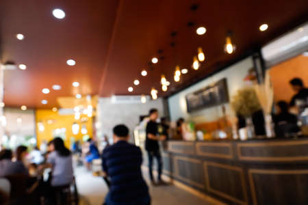 Blurry scene of Customers at Coffee shop