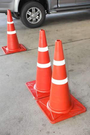 reflective: Orange traffic reflective cone Stock Photo