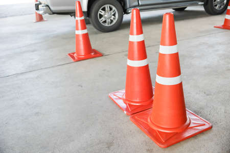 reflective: Orange traffic reflective cone Stock Photo
