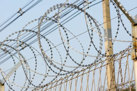 barbed wire fence: Barbed Razor Wire Fence Stock Photo