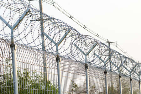 wire fence: Barbed Razor Wire Fence Stock Photo