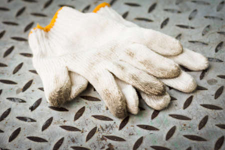 metal sheet: Work gloves on metal sheet