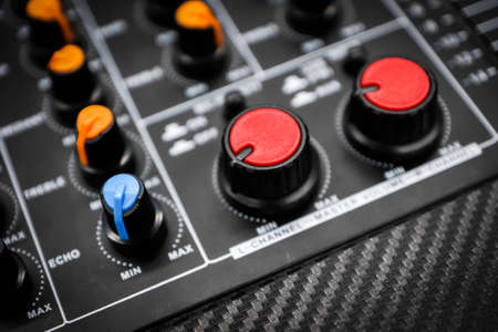 buttons equipment in audio Mixing Console - Retro style