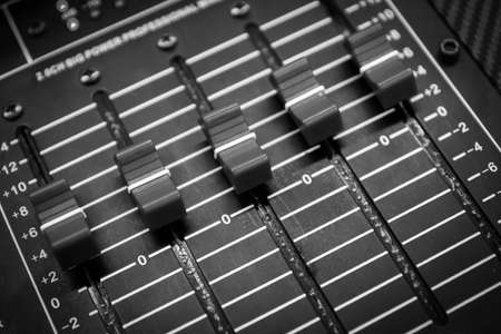 buttons equipment in audio Mixing Console - Black and White