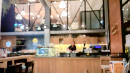 Blurry scene of counter front of restaurant as abstract background