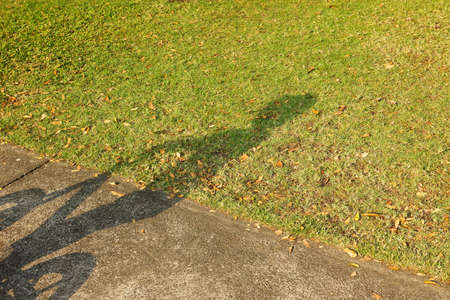Shadow of a children with bicycle on the road and green turf at garden for concept background