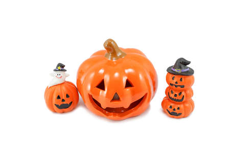 Plaster Halloween pumpkins prop isolated on white background Stock Photo
