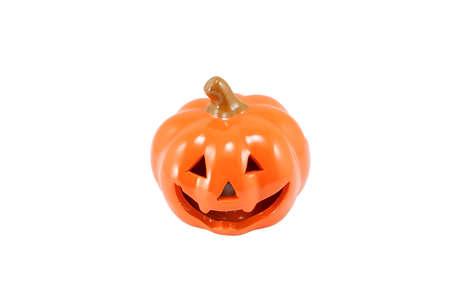 Plaster Halloween pumpkin prop isolated on white background