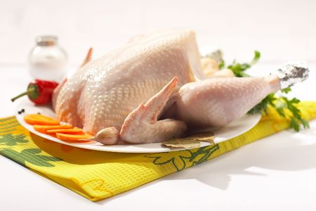 still life: fresh chicken with vegetables and spicery on the plate
