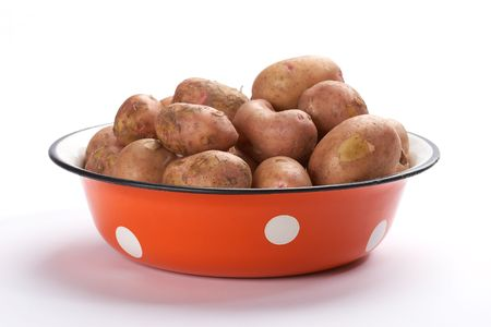 foodstuff: foodstuff: red bowl with fresh potatoes