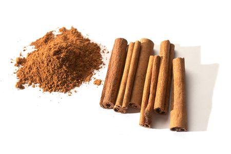 bark of cinnamon over white background