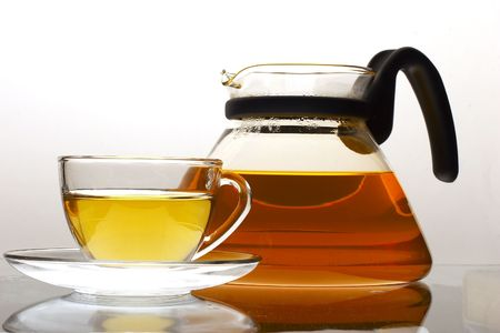 cupof tea and teapot Stock Photo