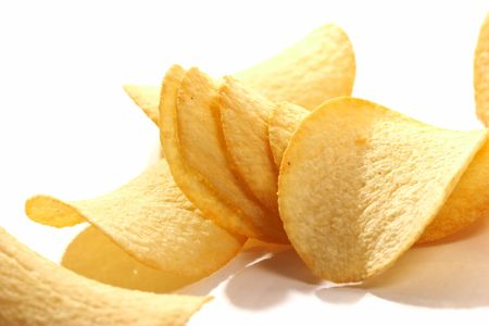 close up pic of potato chips on the white Stock Photo