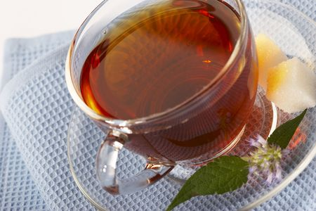salubrious: helpful tea with herb on the blue serviette Stock Photo