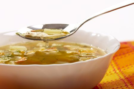 macro picture of appetizing vegetable soup